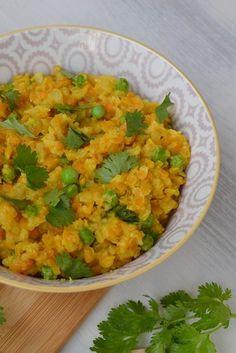 Curry de lentilles corail aux petits pois façon porridge - La cuisine d'Anna et Olivia