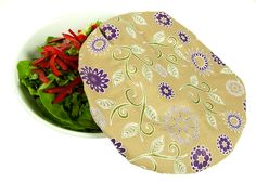 4MyEarth®FOOD COVER LARGE $15.95  Pack contains 2 Large covers          PVC Free        BPA Free         Non-toxic        Phthalate Free        Food grade safe        Perfect for leftovers!        Made from Cotton/Canvas with biodegradable coating       Available in two prints, Text logo or Flower print