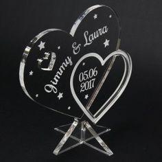 Trophée coeur personnalisé sur socle LED cadeau mariage St