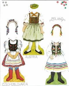 European crafts, Miss Missy Paper Dolls: Traditional Folk Costumes of Europe Doll Clothes Patterns, Clothing Patterns, Folk Costume, Costumes, Paper Art, Paper Crafts, Diy Paper, Missing Missy, World Thinking Day