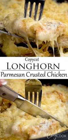 This Copycat Longhorn Parmsan Crusted Chicken recipe has an easy marinade and a delicious Parmesan Crust that s baked on top It tastes JUST like the restaurant version chickendinnerrecipes familydinnerideas restaurantcopycats comfortfood Meat Recipes, Cooking Recipes, Parmesan Recipes, Top Recipes, Coffee Recipes, Vegetable Recipes, Baked Chicken, Boneless Chicken, Vegetarian