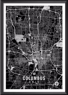"""Columbus Ohio Map with Coordinates _______________________________ - Print size available in: 13"""" x 19"""", 12"""" x 18"""", 11"""" x 14"""", 8"""" x 10"""", 6"""" x 8"""", or 5"""" x 7"""". Example shown is 13"""" x 19"""". - Printed onto"""