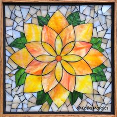 Stained Glass Mosaic Lotus Flower by Kasia Mosaics - This is one of the design in Kasia's Online Stained Glass Mosaic Flower Class available via www.KasiaMosaics.com