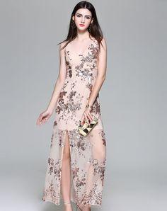 #AdoreWe #VIPme Party Dresses - Viva Vena Apricot Sequin Elegant Party Split Slip Maxi Dress - AdoreWe.com