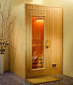Sauna…small could be good. Cheaper to run and it takes less space. Sauna…small could be good. Cheaper to run and it takes less space. Basement Sauna, Sauna Room, Saunas, Master Suite Bathroom, Master Bath, Sauna Design, Hangout Room, Jacuzzi Outdoor, Tiny Spaces