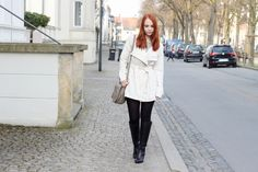 beige trenchcoat, striped dress, black boots, outfit, streetstyle