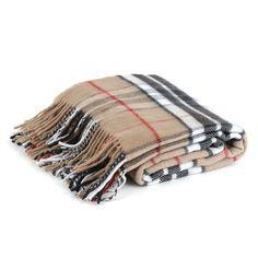 Black and Tan Plaid Throw Blanket with Fringe | Kirklands