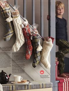 Eclectic Stockings made from plaid shirts/fabric and recycled sweaters