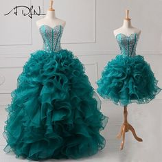 ADLN Beaded Sweetheart Real Sample Quinceanera Dresses 2017 2 in 1 Detachable Sweet 16 Dress Ball Gown Designer Lace Up Back Sweet 16 Dresses, 15 Dresses, Ball Dresses, Cute Dresses, Beautiful Dresses, Ball Gowns, Bridesmaid Dresses, Formal Dresses, Reception Dresses