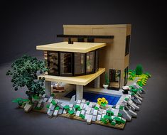 Livingroom above the pool. Lego Humor, Lego Modular, Lego Design, Lego Architecture, Lego Creator, Lego Projects, Lego Instructions, Cool Lego, Lego Building