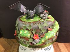 Toothless 'How to Train Your Dragon Cake'. - Chocolate sponge with chocolate fudge buttercream.