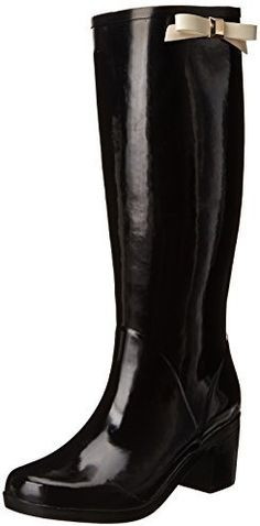 $75, Black Rain Boots: Kate Spade New York Romi Rain Boot. Sold by Amazon.com. Click for more info: http://lookastic.com/women/shop_items/146639/redirect