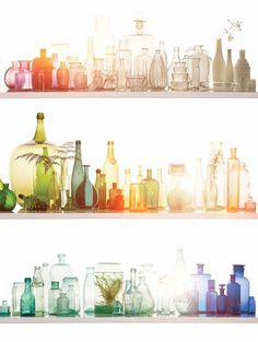 Multi-colored glass bottles. How cool would it be to display a big white bookshelf with these on it?
