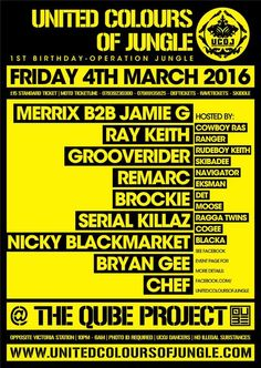 @unitedcolours of Jungle 1st Birthday at Qube Club 2moro w/ @merrixbromley @RAYKEITH1 @McdetUk @GROOVERIDERDJ + More