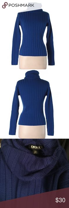 """DKNY Wool Pullover Sweater Gorgeous royal blue turtleneck sweater. Perfect for the cold weather. Size P, fits an XS/S size. 30"""" chest and 21"""" long. 100% wool. Like new DKNY Sweaters Cowl & Turtlenecks"""