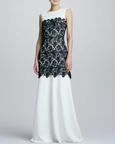Bicolor Lace-Overlay Gown by Tadashi Shoji at Neiman Marcus.still deciding on our black tie party outfit!