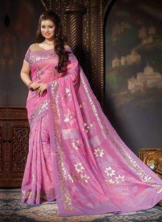 Ayesha Takia Pink Bhagalpuri Silk Saree
