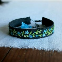 Teal Green and Black Cuff Bracelet  Hand Embroidered by Sidereal