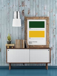 Baylor University Bears pantone poster with official Baylor colors // Perfect gift for a designer!