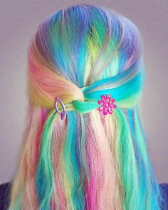 Pin by judy salazar on hair scare цветные волосы, волосы, ид Pastel Rainbow Hair, Dyed Hair Pastel, Colorful Hair, Weave Hairstyles, Pretty Hairstyles, Work Hairstyles, Bandana Hairstyles, Baddie Hairstyles, Bridal Hairstyles