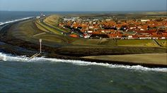The town of Westkapelle in Zeeland, the Netherlands protected by a dike.