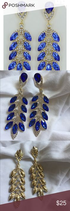 "🆕 Blue Stone Earrings New! From a designer boutique! Earrings are 3.5"" Jewelry Earrings"