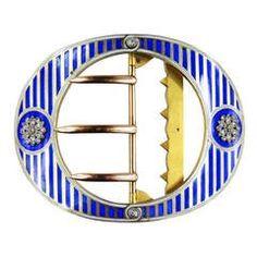 Cartier Paris Rare Blue Enamel Diamond Vermeil Belt Buckle