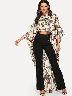 Women Glamorous and Crop Asymmetrical Top Regular Fit Round Neck Three Quarter Length Sleeve Batwing Sleeve Pullovers Apricot Graphic Print High Low Poncho Top Look Fashion, Fashion News, Looks Jeans, Poncho Tops, Spring Shirts, Asymmetrical Tops, Western Outfits, Types Of Sleeves, Fashion Dresses
