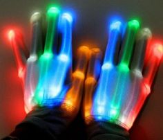 LED Light-Up Rainbow Multicolor Gloves  - LED Gloves Rave Light Finger Lighting Flashing Glow Mittens;Made of Jersey sequins of good air permeability.    link: