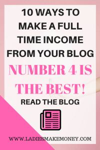 10 ways to make a full time income from your blog. Make money from home. Make money blogging. Affiliate Marketing. Ways to monetize your blog. Making money online. Tips to making money online.