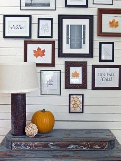 Our friend, Layla Palmer of The Lettered Cottage, shopped garage sales and thrift stores for a mixture of frames then filled them with Autumn sentiments.  Use your home printer to create some favorite quotes/sayings and mix them in with favorite photographs and