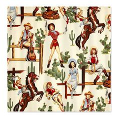 Cute Western Pattern Shower Curtain