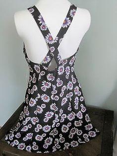 Summer Skater Dress Retro Daisy Print Criss-Cross Straps Size 5/6 Festival Boho