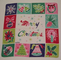 Vintage Designer Merry Christmas Holiday Handkerchief by murdups, $65.00