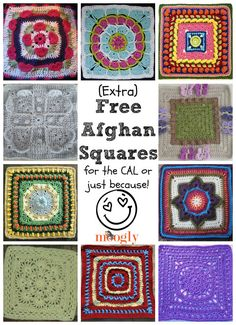 Extra Patterns for the Crochet-a-Long: 10 Free Afghan Squares! If your working on the Afghan Crochet-a-Long, you might want to add some more squares - here are 10 free afghan squares patterns that are perfect additions! Crochet Afghans, Moogly Crochet, Crochet Squares Afghan, Crochet Quilt, Granny Square Crochet Pattern, Crochet Blocks, Crochet Granny, Crochet Motif, Crochet Yarn