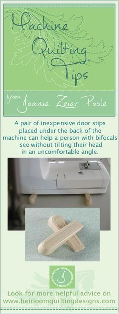 Doorstop-Tip Keep your machine in good condition so I can teach you to use it for free-motion machine quilting! my machine quilting advice, see my DREAM! gallery and SHOP! for elegant quilting designs at www. Machine Quilting Patterns, Quilting Tools, Longarm Quilting, Free Motion Quilting, Quilting Tutorials, Hand Quilting, Sewing Tutorials, Quilting Projects, Quilt Patterns