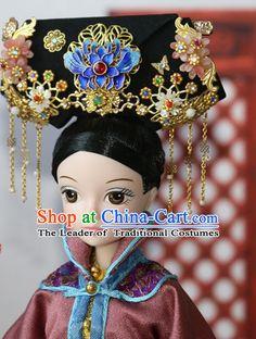 Traditional Chinese Women Qing Empress Headpiece Princess Headdress Palace Hair Decorations Royal Hair Sticks Head Gear Hair Decoration Set