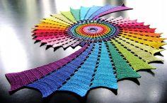 crochet rainbow fractal art 600x372 10 Stunning Examples of Crochet Fractals