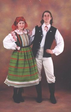 Strój z Kurpi białych Folk Costume, Costumes, Norwegian Clothing, Warsaw, Historical Clothing, Poland, All Things, Mexico, Traditional