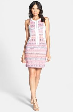 Ella Moss 'Paz' Print Front Zip Sheath Dress available at #Nordstrom