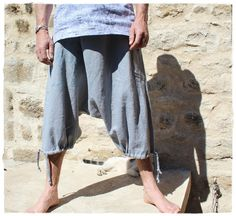 Items similar to Sarouel ethnic for men in gray linen on Etsy Baggy Trousers, Harem Pants, Ganesh, Ethnic Fashion, Mens Fashion, Button Fly Jeans, Fashion Looks, Couture, Style