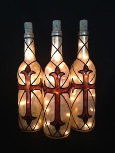 Old World Budded Cross Wine bottle Light por BottleOfLights en Etsy