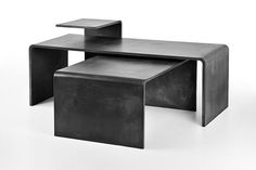 Three concrete conference tables in different sizes can be variably assembled according to your wishes. The result is always an original sculpture in the middle of your living room.Tables are available in different shades of white, gray and anthracite. Concrete Table, Concrete Design, Conference Table, Shades Of White, Small Tables, Walnut Wood, Furniture Design, Sculpture, The Originals