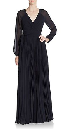 Badgley Mischka | Pleated Wrap Gown | SAKS OFF 5TH