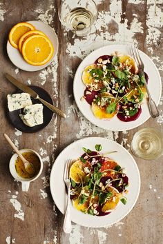 Beet & Orange Salad - winged it with the dressing, added arugula, bleu cheese. Raw Food Recipes, Vegetarian Recipes, Cooking Recipes, Healthy Recipes, Cooking Food, Cooking Tips, I Love Food, Good Food, Yummy Food