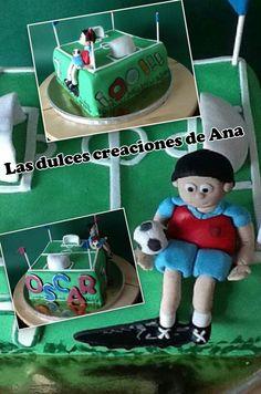 Tarta campo de fútbol con futbolista personalizado