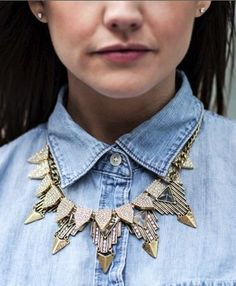 Chambray + statement necklace