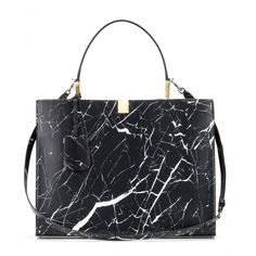 Balenciaga - Le Dix printed leather tote - Updated for the latest season with a black and white marbling effect, the streamlined structure is peppered with sleek gold hardware and a detachable shoulder strap. - @ www.mytheresa.com