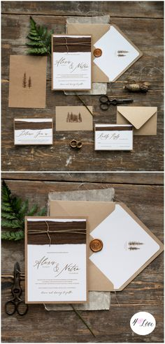 Handmade Eco calligraphy wedding invitations with touch of wood and natural twine. Includes printing, envelopes finished with tree printed liner #rustic #handmade