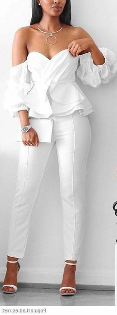 All White Party Outfits, White Outfits For Women, White Shirts Women, All White Outfit, Classy Outfits, Wedding Outfits, Wedding Dress, 30th Birthday Outfit Ideas For Women, White Leather Pants